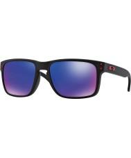 Oakley Oo9102-36 Holbrook matt svart - röd iridium solglasögon