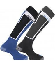 Salomon 355960-BLABLU-S Elios svart och blå strumpor två pack - storlek s (uk 3,5-5)