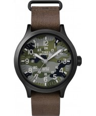 Timex TW4B06600 Mens scout brunt läder Strap Watch
