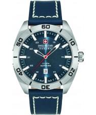 Swiss Military 6-4282-04-003 Mens champ blå läderrem klocka